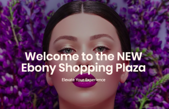 a womans face ordained in make-up with overlaid text reading Ebony Shopping Plaza